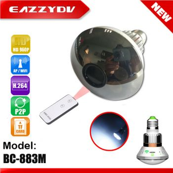BC-883M 1.3M Mirror Hidden WiFi Bulb IP Network DVR Camera with Light by Remote Control +APP