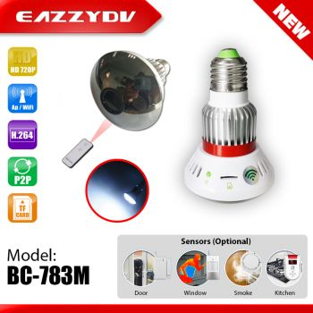 BC-783M Mirror Hidden 720P WiFi Bulb IP Camera with Light and Remote Control+Wireless alarm sensors